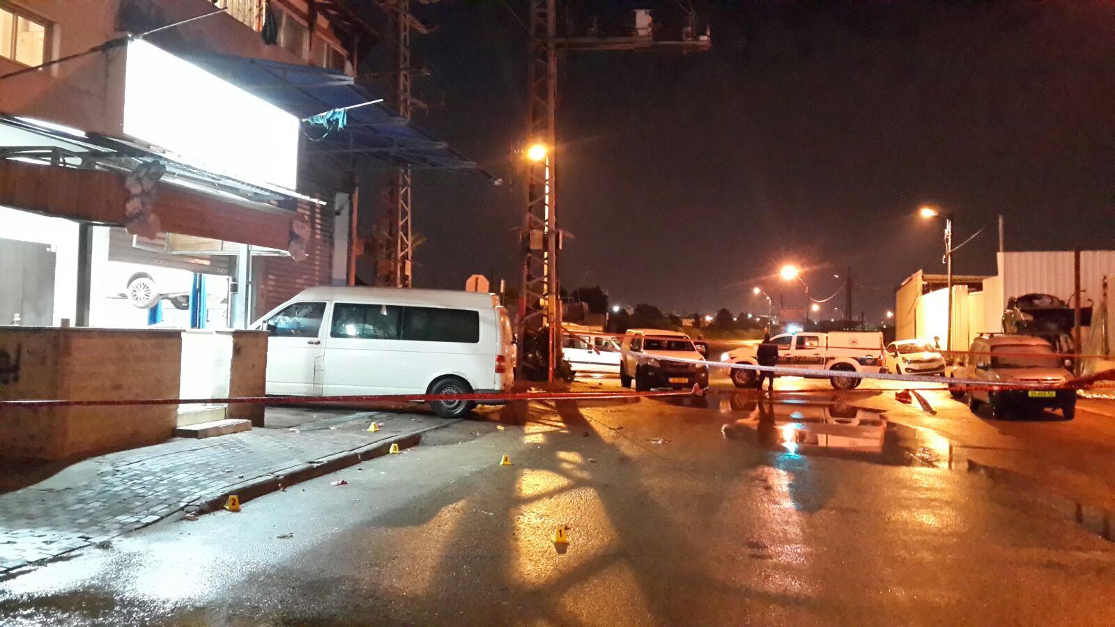 זירת ההתנקשות בלוד.צילום חטיבת דובר המשטרה